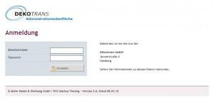 Die Login-Seite von DekoTRANS.de